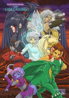 "The ""Allies"" edition of The Last Calling's Pomo-styled poster. Characters shown are: Shifra, Laeka'Draeon, Ghinzel, Norf, Opal Eyes, Ubi, Yarad, Fargo, Belzor, and Veilkiir. Creatures represented: Morwulf, Dragon, Fellis, Satyr, Hemlan, Unicorn, Hemlan Mage, Spirit Message, Centaur, and Manorphis. The Last Calling, the epic conclusion to the Dragon Calling series! Satyr, Centaur, Advanced Vocabulary, Hobgoblin, Opal, Unicorn, Mystery, Dragon, Creatures"