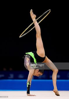 Laura Halford of Wales competes in the Hoop Rotation of the Individual All-Around Rhythmic Gymnastics at the SSE Hydro during day two of the Glasgow 2014 Commonwealth Games on July 25, 2014 in Glasgow, United Kingdom.