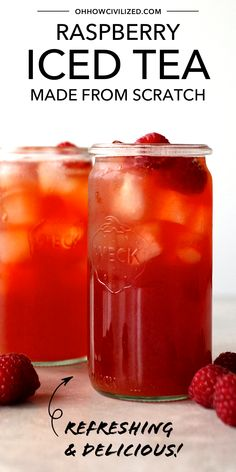 Make your summer teatime extra refreshing with this delicious iced tea! Made from fresh raspberries and black tea, this amazing iced tea recipe is perfect for summer! Refreshingly sweet and delicious, raspberry iced tea is amazing! Raspberry Ice Tea Recipe, Raspberry Iced Tea, Raspberry Smoothie, Smoothies, Strawberry Recipes, Cranberry Iced Tea Recipe, Iced Black Tea Recipe, Strawberry Tea, Refreshing Drinks