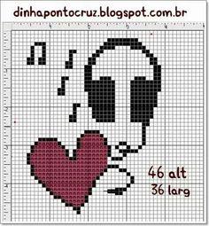 Audifonos corazon musica punto cruz