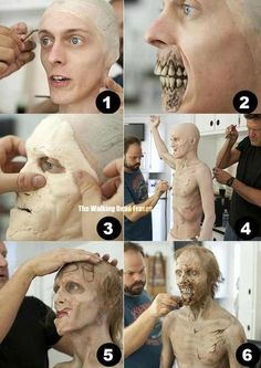 Zombie makeup application for 'The Walking Dead'