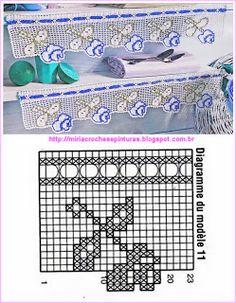Risultati immagini per miria croches e pinturas Crochet Boarders, Crochet Lace Edging, Thread Crochet, Crochet Stitches, Crochet Patterns, Crochet Dollies, Crochet Girls, Love Crochet, Filet Crochet Charts