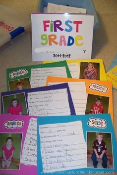 Cute Idea for first week. Students fill out questions about themselves, attach picture and name in cute colorful font, and put into classbook. Then spend sometime reading each day toget to know eachother. From doodlebug teaching.