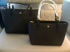 TORY BURCH YORK BUCKLE TOTE AND SMALL BUCKLE TOTE BLACK