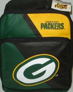 "NFL - Green Bay Packers Backpack by NFL. $19.99. An official NFL 'Green Bay Packers' backpack. Has the teams logo 'G' on the front of the pocket as well as the teams name on the top with a yellow background. Has adjustable straps and a pocket on the front that measures about 10"" long. Show your support of your favorite football team. The dimensions are: 12""x16""x5""(LxHxW) and it weights about 3lbs."