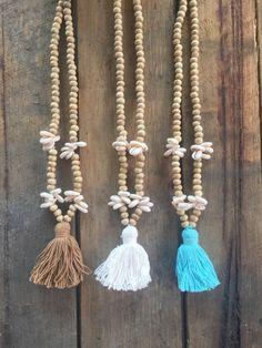 Cáscara de grano bohemio y borla collar