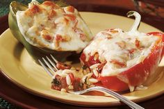 Our recipe for stuffed peppers brings classic ingredients together like orzo pasta, Italian sausage in red sauce and Sargento® Sliced Provolone Cheese. Stuffed Roasted Peppers, Italian Stuffed Peppers, Low Calorie Recipes, Meat Recipes, Yummy Recipes, Good Food, Yummy Food, Yummy Yummy, How To Cook Orzo