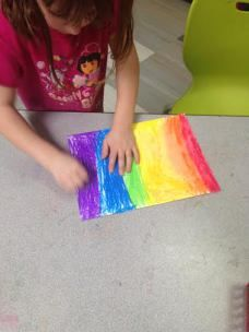 Revisiting the Rainbow and Blending Pastels with Kindergarten (Extended with line, pattern and insect drawing.)