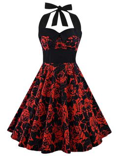 "Robe Pin-Up Rockabilly Vintage Rock Ange'Hell ""Ashley Red Flowers"""