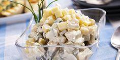 Juustoinen perunasalaatti Potato Salad, Side Dishes, Potatoes, Ethnic Recipes, Food, Eten, Potato, Meals, Side Dish