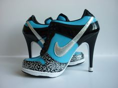 nike stilettos | Nike Dunk High Heels Women Blue