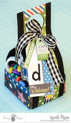 Gift Caddy by Glenda Viljoen using the Everyday Circus collection and black corrugate by FancyPantsDesigns.com