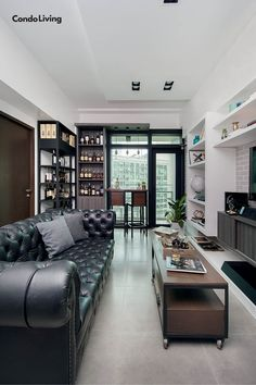 Interior Designer Uzel Alconera marries industrial and minimalist in her condo, making it a happy home of her and her fiance's favorite things. Condo Design, Home Interior Design, House Design, Condo Decorating, Southern Living, Living Room Interior, Minimalist Design, Industrial, Furniture