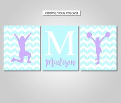 Cheerleading Wall Art Decor Download Printable - Cheer Wall Art Prints - Purple Aqua Cheer Bedroom Decor - Monogram Name Print by KookyburraPrints on Etsy https://www.etsy.com/listing/500600809/cheerleading-wall-art-decor-download