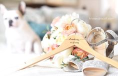 Premium engraved bridesmaid and wedding dress hangers by Black Label Decor. Pricing starts at just $10/hanger WITH notches included for ease in hanging your dresses   Photo by Kristen Driscoll Photography