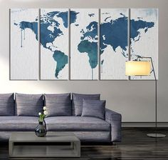 World Map Canvas Art Print, Large Wall Art World Map Art, Extra Large Multipanel World Map Print for Home and Office Wall Decoration ◆ SIZE Large Canvas Prints, Large Canvas Wall Art, Extra Large Wall Art, Large Art, Wood Wall Art, Wood World Map, World Map Canvas, World Map Wall Art, World Map Decor