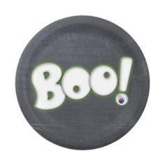 Bootiful Halloween Boo Lettering Chalk Adult Paper Plate - halloween decor diy cyo personalize unique party