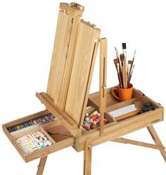 2 X 40 cm BASE EASELS PLAIN PINE WOOD ART CRAFT STUDIO DISPLAY CANVAS  SUPPORT