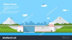 Picture Of Water Power Plant In Front Of Mountains, Flat Style Banner Concept Of…