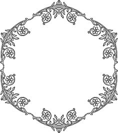 floral polygon border coloring page