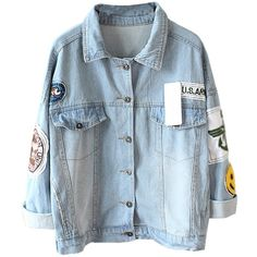 Mooncolour Womens Novelty Badge Wash Blue Denim Jacket (790 CZK) ❤ liked on Polyvore featuring outerwear, jackets, blue jean jacket, blue denim jacket, blue jackets, denim jacket and jean jacket