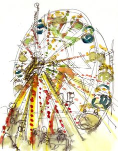 Items similar to Ferris Wheel Watercolor Sketch, rainbow carnival Sketch - fine art print on Etsy Art And Illustration, Watercolour Illustration, Watercolor Sketch, Watercolor Paintings, Watercolors, Painting Art, Urban Sketching, Art Plastique, Rainbow Colors