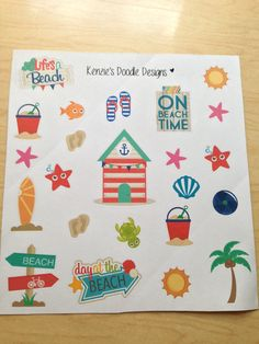 Beach Theme Planner Stickers!/EC Planner/Happy Planner (3.50 USD) by KenziesDoodleDesigns