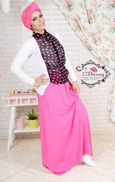 hijab look pink maxi skirt, denim jacket, floral top Casual hijab looks by 27dresses http://www.justtrendygirls.com/casual-hijab-looks-by-27dresses/