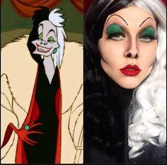 Cruella de Ville Halloween makeup.