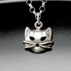 sterling silver cat necklace: cat jewelry, siamese cat, retro rockabilly jewelry kitty pussycat on sterling silver chain layering necklace
