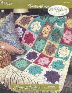 ╭⊰✿ ✿⊱╮ Entulho Padrão Crochê Afegão itens Decorativos Criações -  /  ╭⊰✿ ✿⊱╮ Scrap Afghan Crochet Pattern Knacks Creations -