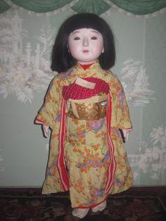 SUPERB A/O 1930's Japanese Paper Mache Ichimatsu Girl Doll! - Dorian's Doll Room #dollshopsunited