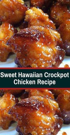 Sweet Hawaiian Crockpot Chicken Recipe Sweet Hawaiian Slow-Cooker Chicken only . - My list of the best food recipes Slow Cooker Huhn, Slow Cooker Recipes, Meat Recipes, Chicken Recipes, Dinner Recipes, Recipies, Recipe Chicken, Healthy Recipes, Recipes With Chicken Chunks