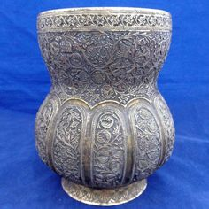 Antique Kashmiri Floral Lobed Repousse Copper and Brass Water Lota Vase 19th C