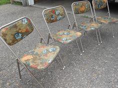 Vtg Set 4 Samsonite Folding Chairs Floral Vinyl Seats Danish Mid Century Modern | eBay
