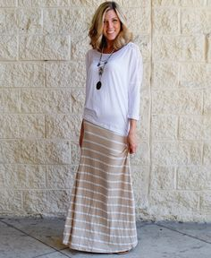 $22.99 - Tan and white maxi skirt - Love neutral colors for summer!