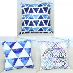 Triangle watercolor throw pillows for living room blue and white cushions Blue Couch Living Room, Blue And White Living Room, Living Room Wood Floor, Blue Couches, Living Room With Fireplace, Living Room Paint, Living Room Color Schemes, White Cushions, Room Colors