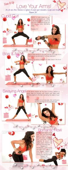 I love this arm workout!!!!! Love Your Arms with this routine! It will tighten and sculpt your shoulders, triceps and biceps! From your trainers, Karena and Katrina at www.toneitup.com by evelyn
