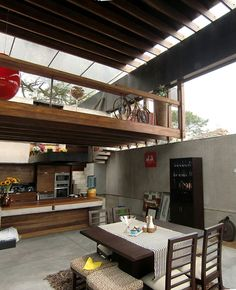 Modern Square Mezzanine Design Ideas: Modern Mezzanine Home Interior Design With Timber Loft Rooms And Open Ceiling Concept As Lounge Or Ope. Exterior Design, Interior And Exterior, Floor Design, House Design, Architecture Design, Casa Loft, Casas Containers, 3d Home, Lofts