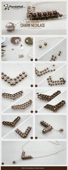 """How to make your own charm necklace out of common beads that you have bought from stores? Here, a practical charm necklace making project is available. By the very common beads, you can produce a characteristic jewelry ornament with a new """"V"""" shape! by hallie"""