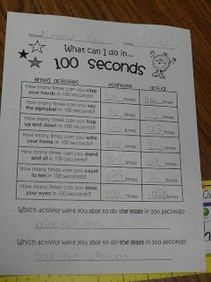 Tons of 100th Day of School Activities including: I can do _____ in 100 seconds activities