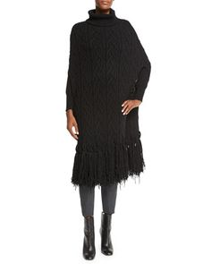 Fringed+Cable-Knit+Turtleneck+Cape,+Black+by+Agnona+at+Neiman+Marcus.