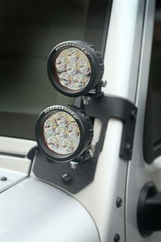 This semi-gloss or textured black A-Pillar light mount kit from Rugged Ridge includes a pair of light mounts and four round LED lights. Each kit provides a new option for added visibility during evenings on the trail. Jeep Jk, Jeep Wrangler Tj, Jeep Wrangler Unlimited, Jeep Truck, Jeep Wrangler Lights, Jeep Wrangler Interior, 4x4 Accessories, Jeep Wrangler Accessories, Ford Ranger