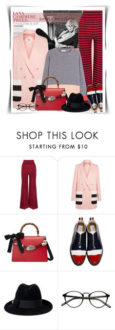 """""""Cosy Cashmere- Simple Modern"""" by no-where-girl ❤ liked on Polyvore featuring Sonia Rykiel, MaxMara, Gucci, Thom Browne, Supra, modern and cashmere"""
