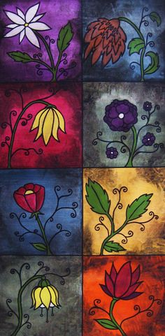 Abstract Art - Flower Painting - Patchwork Painting - Lotus Flowers - Vines - Red Blue Green Yellow Purple - 12x24  Abstract, flowers, tapestry, daisy, lotus flower, leaves, red, yellow, purple, blue, olive green, aged, antiqued on gallery wrapped canvas (meaning no side staples)  This abstra...