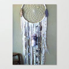 Whiter Shade of Pale Dreamcatcher Stretched Canvas by Rachael Rice - $85.00