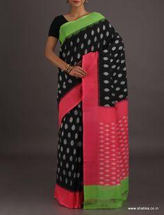 Kareena Twinkling Stars in Night Sky Ikat #PochampallycottonSaree