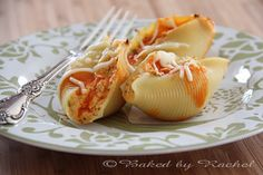 Buffalo Chicken Stuffed Shells - perfect do ahead dish for the reception buffet.  Make ahead and freeze. Remove from the freezer in the morning and reheat on site.  YUM!  bakedbyrachel.com