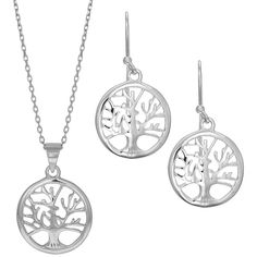 Sterling silver rhodium plated tree of life 18 inch necklace and... ($189) ❤ liked on Polyvore featuring jewelry, earrings, rhodium plated earrings, sterling silver jewelry, earring jewelry, rhodium plated jewelry and sterling silver jewellery