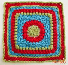 """'Dalliance' - Free crochet (12"""") pattern by Margaret MacInnis Block 18 - Moogly 2014 Afghan CAL (with pattern link and links to all the previous CAL posts)."""